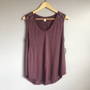 NWT Plum Embroidered Boho Relaxed Tank Top